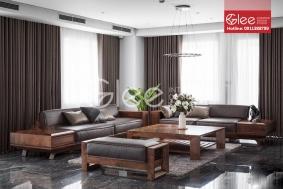 Bộ bàn ghế sofa gỗ óc chó bọc nệm da cao cấp GSG52