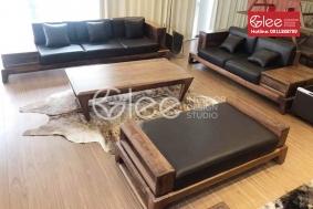 Bộ bàn ghế sofa gỗ óc chó hiện đại - GSG54