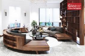 Bộ sofa cong hình tròn gỗ óc chó  cao cấp GSG50