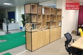 Vách ngăn khung sắt kết hợp hộc gỗ công nghiệp GVA36