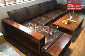 Bàn ghế sofa gỗ óc chó đẹp cao cấp - GSG44