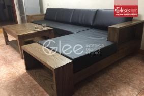 Bộ bàn ghế sofa gỗ sồi nga giả óc chó - GSG41
