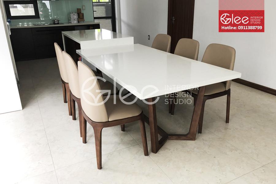 Bộ bàn ăn 6 ghế grace bọc da - GBA55
