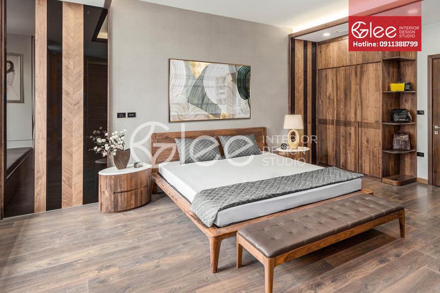 Bộ giường ngủ gỗ óc chó cao cấp GPN52