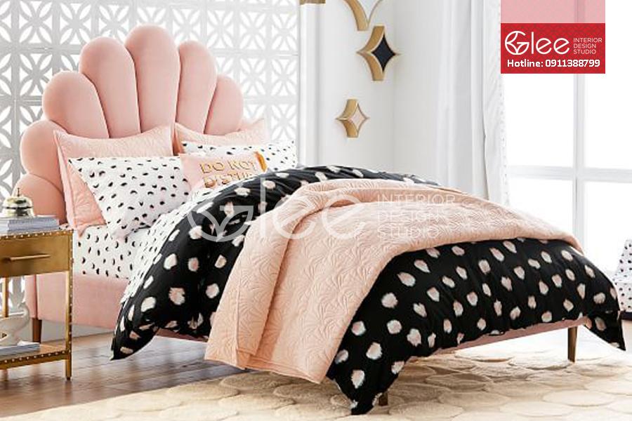Giường ngủ bọc nỉ trẻ em màu hồng GPN50