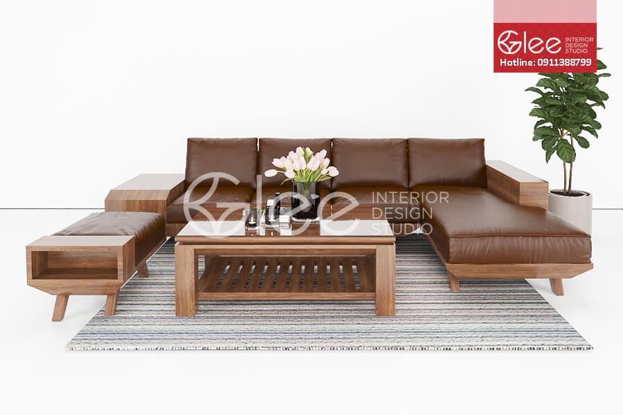 Bàn ghế sofa gỗ óc chó phòng khách GSG37