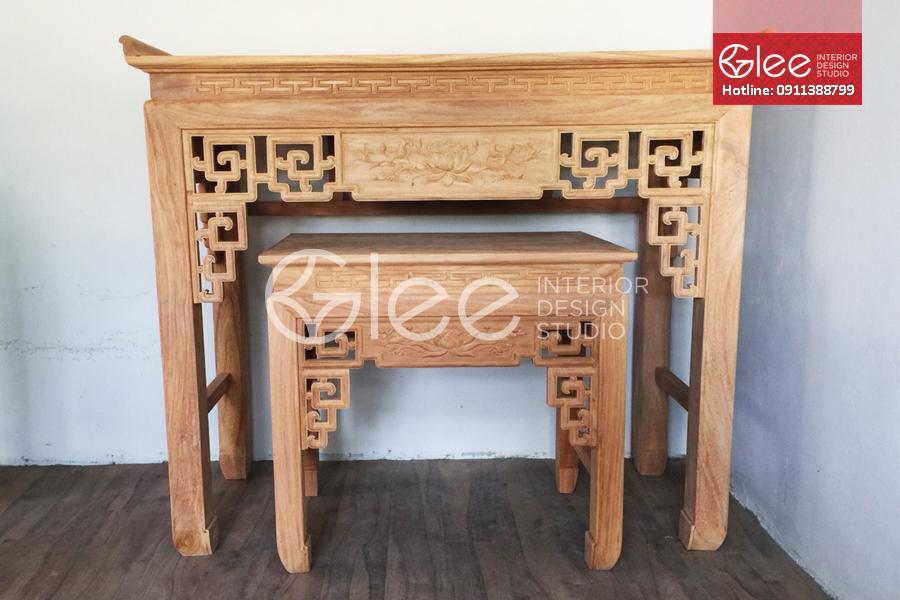 bàn thờ gỗ gỗ triện sen