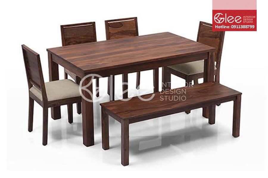 Bộ bàn ăn gỗ óc chó hiện đại-GBA47