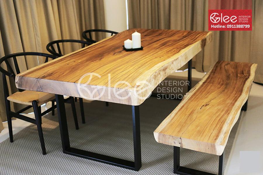 bàn ăn nguyên khối gỗ tự nhiên