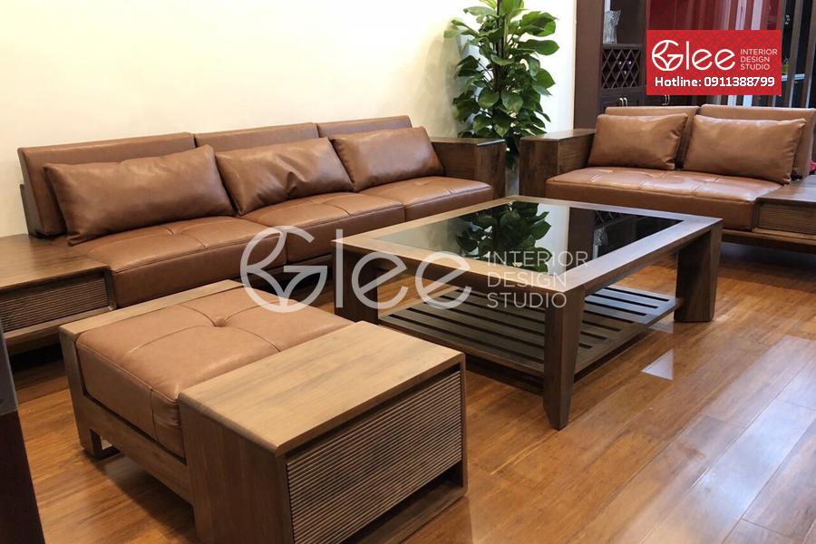 Bộ bàn ghế sofa gỗ óc chó cao cấp - GSG48