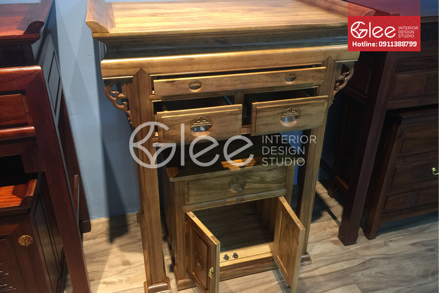 bàn thờ gỗ gụ đẹp, bàn thờ chung cư gleehome