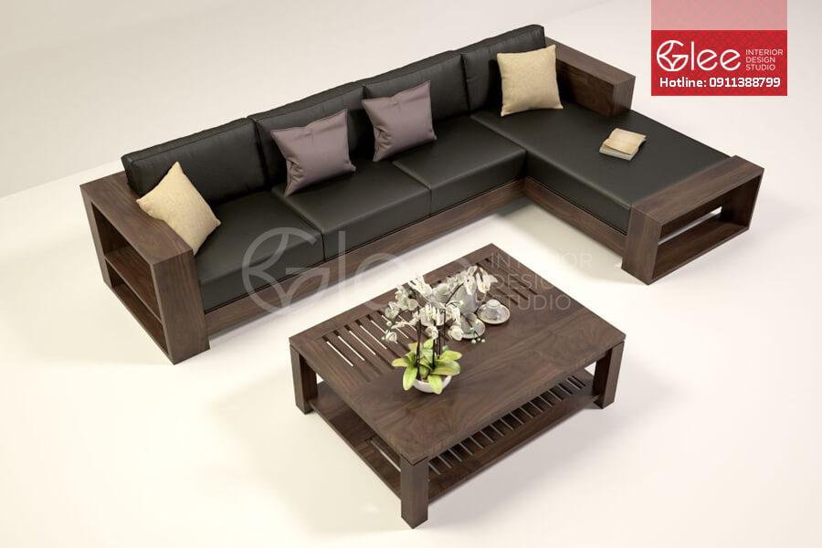 sofa gỗ óc chó gsg26
