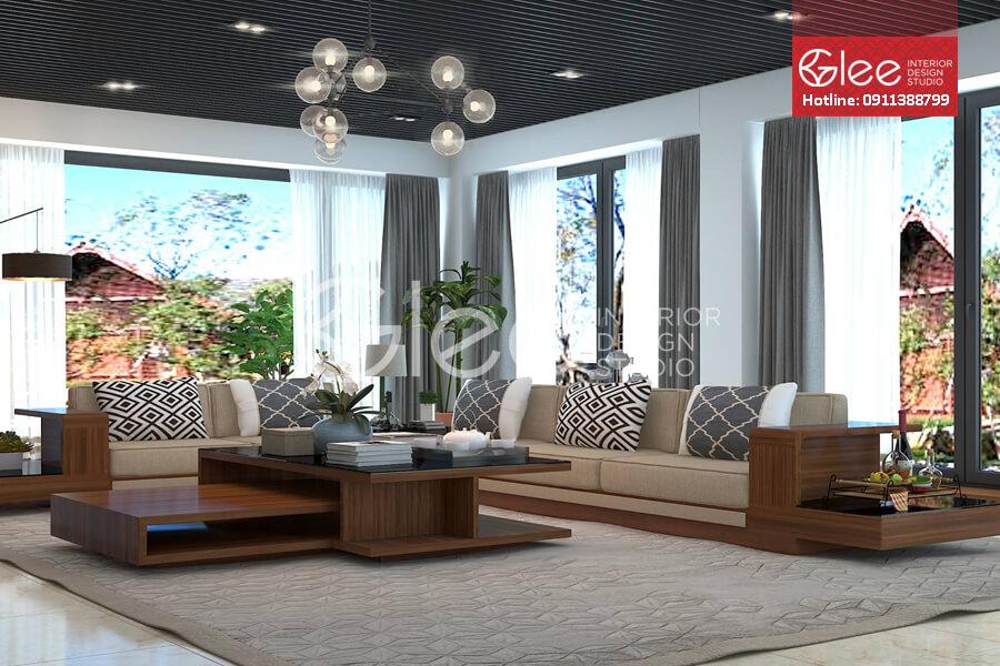 Sofa bang go tu nhien - Sofa gỗ phòng khách GSG36.